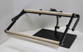 side view of lap stand with scroll frame